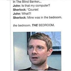 I noticed this the first time I watched The Blind Banker and by then I was already a pretty intense Johnlock shipper. Sherlock Bbc, Sherlock Fandom, Sherlock Quotes, Johnlock, Martin Freeman, Benedict Cumberbatch, Steven Universe, Marvel Comics, Mrs Hudson