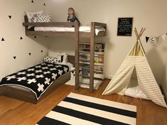 Bunk Beds For Boys Room, Bunk Bed Rooms, Loft Bunk Beds, Modern Bunk Beds, Bunk Beds With Stairs, Kid Beds, Boy Room, Bunk Bed Ideas For Small Rooms, Kids Beds For Boys