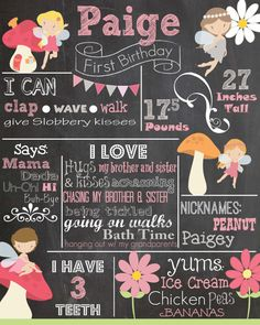 Fairy Chalkboard Birthday Poster: Golden birthday keepsake (especially since we havent done any others)