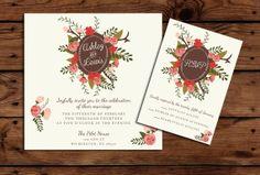 Printable Wedding Invitation and RSVP Bundle by SomebodyLovedShop, $20.00