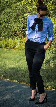 How to style and embellished collar with a bow-tie, classic button-down, black pants and classic black heels.