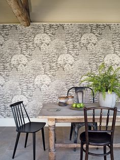 Sanderson wallpaper - Woodland Toile (215716). This design creates the atmosphere of being in the middle of a wood with a typical variety of native British woodland trees. The design was drawn with pen and pencil with great detail, giving the look of a modern toile wallpaper.