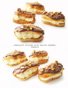 Twigg studios: chocolate eclairs with salted caramel peanuts Pastry Recipes, Gourmet Recipes, Sweet Recipes, Dessert Recipes, Cake Recipes, Just Desserts, Delicious Desserts, Yummy Food, Tasty