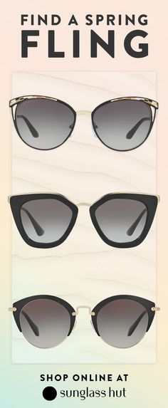 Bvlgari, Versace, and Prada cat-eye frames. That's a pretty strong trio. The classic black frame paired with gold detailing is perfect for any day of the week. You can even have one pair for when you need to go to the office. Another pair for when you're heading to brunch with your friends and finally a pair for a casual stroll through the park. No matter what you're doing, where you're going or what your taste is, Sunglass Hut has every style to match every personality.