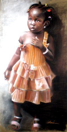 Petite burkinabée Pastel by Abderramane Latrache Black Art Painting, African Artwork, Precious Children, Beautiful Children, Soul Art, African American Art, American History, Black Image, Afro Art