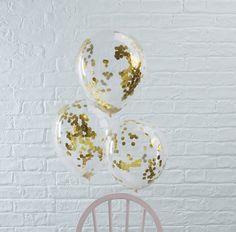 Gold Confetti Balloons, Clear Confetti Balloons, Gold Party, Gold Confetti, Balloons, Party, Celebra