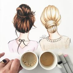 Holly Nichols в Instagram: «Espresso for two (though there's a chance they're both for me ) #fashionsketch #fashionillustration #fashionillustrator #boston #bostonblogger #bostonillustrator #copic #copicmarkers #copicart #hnicholsillustration #hairillustration #topknot»