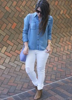 The perfect spring outfit on a budget with Wild Blue. Ripped white denim jeans with denim blouse by Sadie Robertson.