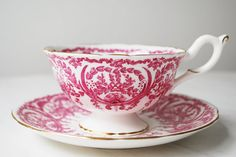 Coalport Teacup and Saucer Pink Flowers and by PinkDahliaStudio, $45.00