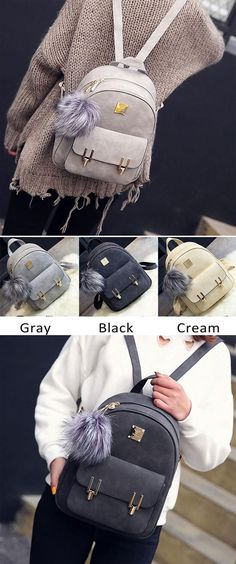 Fashion Frosted PU Zippered School Bag With Metal Lock Match Backpack for big sale ! #pu #zippered #school #college #Backpack #Bag #fashion #travel #student