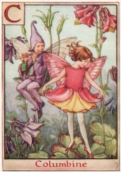 "C = Columbine Fairy by Cicely Mary Barker. Alphabet Flower Fairies, c1934  This is an original vintage Cicely Mary Barker Flower fairies colour print. It is not a modern reproduction.  ""A Flower Fairy Alphabet""; Poems and Pictures by Cicely Mary Barker, Published by Blackie & Son Limited, London"