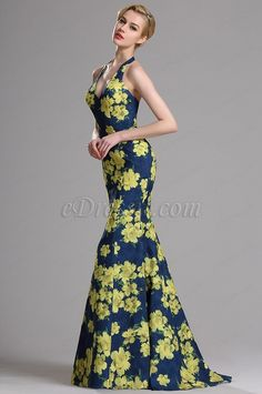 eDressit Halter Floral Print Mermaid Prom Evening Dress (00163268)