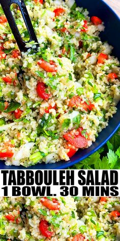 """MEDITERRANEAN TABBOULEH SALAD RECIPE- Quick and easy Lebanese tabouli salad, homemade with simple ingredients in one pot in 30 minutes. Loaded with bulgur wheat, cucumbers, tomatoes, fresh herbs and lemon dressing. Also known as """"tabouli salad"""" and """"tabouleh salad."""" Can also add quinoa or couscous, lentils or chickpeas. From OnePotRecipes.com #salad #onepotrecipes #onepotmeal #sidedish #mediterranean #30minutemeal #30minuterecipes 30 Minute Meals, Quick Meals, One Pot Meals, Fresh Herbs, Couscous, Easy Salads, Healthy Salads, Healthy Eating, Lentils"""