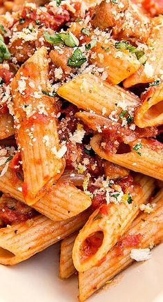 Whole Wheat Penne in Roasted Garlic Tomato Sauce with Spicy Italian Chicken Sausage and Topped with Parmesan Panko Bread Crumbs