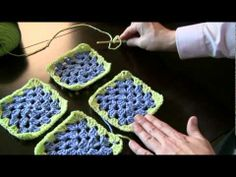 Attaching granny squares single crochet method video tutorial