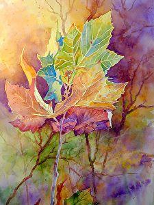 "AUTUMN BLAZE by Mary Shepard Watercolor ~ Image size:  21"" x 14"" unframed"