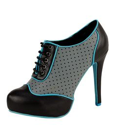 Take a look at this Grey & Turquoise Panel Lace-Up Pump on zulily today!