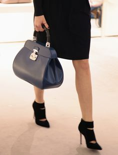 Gucci bamboo bag blue, Gianvito Rossi cut out ankle boots in black suede, autumn winter 2013. from www.wunderl.com
