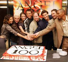Angel 100th episode celebration. Oh that makes me so sad. Lorne is there and look how young the guy is.