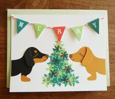 Merry Christmas Holidays Teriyaki and BBQ the Dachshunds by Cuore