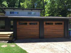 Modern Garage Doors, Contemporary Garage Doors, Wood Garage Doors, Mid Century Modern Door, Mid Century Exterior, Single Garage Door, Glass Garage Door, Garage Door Makeover, Home Exterior Makeover