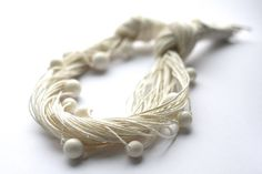 Snow Balls, Linen Necklace on Etsy, $40.00