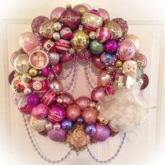 Chic Purple Pink Beaded Vintage Ornament Wreath by SugarPlum Wreaths