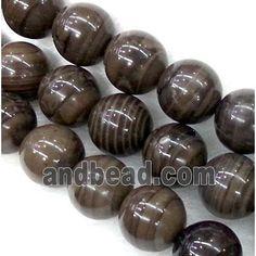 coffee stripe jasper bead, round (GMOT178-8MM) approx 8mm dia