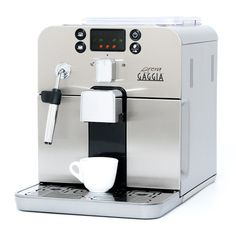 Gaggia Brera Super Automatic Espresso Machine in Silver. Pannarello Wand Frothing for Latte and Cappuccino Drinks. Espresso from Pre-Ground or Whole Bean Coffee. FROTHING FOR MILK BEVERAGES: Pannarello wand frothing for cappuccinos & lattes. Espresso Machine Reviews, Espresso Coffee Machine, Cappuccino Coffee, Coffee Brewer, Espresso Maker, Espresso Cups, Coffee Maker, Coffee Aroma, Gaggia Coffee Machine