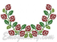 """""""Roses and Buds""""_Neck Cross Stitch Bookmarks, Cross Stitch Rose, Cross Stitch Flowers, Cross Stitching, Cross Stitch Embroidery, Fruit Flowers, Cross Stitch Designs, Machine Embroidery Designs, Projects To Try"""