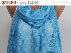 $10.8  Light Blue, Fringed Scarf, Oversize, For Her Women, Fashion, Accessories, Spring Summer Fall Winter, Gift,  inlaid, Silky, Shawl, Wrap, gift by echerpe   #fashion   #instamoda   #cutestuff   #happy   #dress   #gift   #shawl   #forsale   #coverup