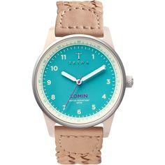 Triwa Women's Women's Aqua Lomin Leather Strap Watch - Turquoise/Aqua (€56) ❤ liked on Polyvore featuring jewelry, watches, aqua jewelry, turquoise jewellery, quartz movement watches, turquoise jewelry and triwa