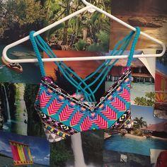 Pacsun bikini top La hearts bikini top get print with braided straps in front and strappy back. No padding and runs a little bit small imo. Never worn NWT LA Hearts Swim Bikinis