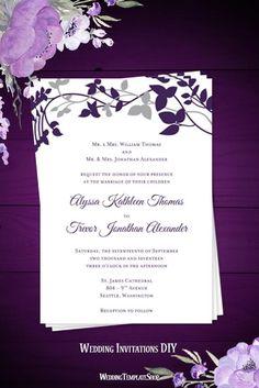 Printable Wedding Invitation Template Quot Elegance Quot Royal