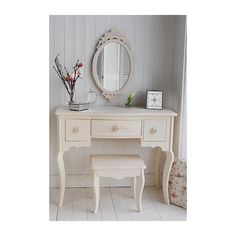 Cream Dressing Table - Rose Cottage Cream Bedroom Furniture ❤ liked on Polyvore