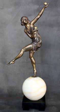 "An Art Deco bronze figure lamp by Marcel-Andre Bouraine, ""Jongleuse"", circa 1924, edited by Arthur Goldscheider - Paris."