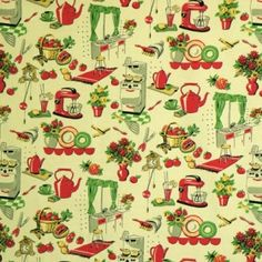 Price (metre): £10.98  100% Cotton  American cotton fabric with a fifties kitchen design in red, green and soft yellow on a ivory background.   Kettle height approx. 3.50cm.