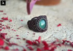 Check out this item in my Etsy shop https://www.etsy.com/listing/451903620/green-onyx-macrame-ring-bohemian-macrame