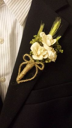 Wedding Boutonniere Boutineer White Ivory Roses by TheRusticPorch