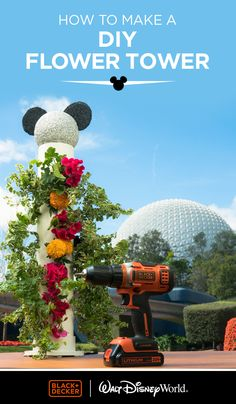 The Flower Tower is an easy project for a beginner DIYer with a green thumb. The material needed for this project is easy to find at any home improvement and crafts stores and the spaceship earth inspired cap gives the Flower Tower a fun Disney feel. Click to learn more atBLACKANDDECKER.COM