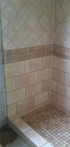 Shower tile design - like to use the 2x2 mosaic floor and tile beneath accent. Could use same size tile on top but not turned.