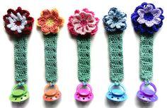 Pacifier Holder with Flowers  PDF Crochet por CrochetSpotPatterns, $5.95