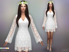 Sims 4 CC's - The Best: Bohemian wedding dress by BEO