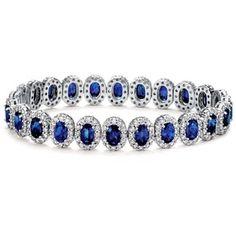 Blue Nile Oval Sapphire and Pavé Diamond Bracelet in 18k White Gold