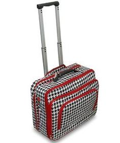 HOUNDSTOOTH With RED TRIM 16 Rolling Canvas Laptop Bag Brief Case  #Single_Detail_Page_Misc
