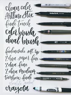 My Favorite Brush Pens for Beginners My Favorite Brush Pens for Beginners – Lyss Tyler Letters Caligraphy Pen, Brush Pen Calligraphy, Calligraphy Handwriting, Learn Calligraphy, Calligraphy Letters, Calligraphy Pens For Beginners, Wedding Calligraphy, Brush Lettering Pens, Cool Handwriting