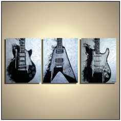 Guitar painting, Music studio decor, Guitar wall art, Black White Silver Guitar Strat Les Paul Flying V, Metallic Guitar Painting on canvas