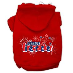 Little Firecracker Screen Print Pet Hoodies Red Size S (10)
