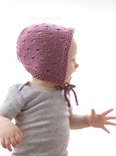 Sweet Baby Bonnet Knitting Pattern - Little Red Window Baby Bonnet Pattern Free, Crochet Cowl Free Pattern, Baby Hat Knitting Pattern, Baby Hat Patterns, Baby Hats Knitting, Beanie Pattern, Sweater Patterns, Knit Patterns, Knitted Hats Kids
