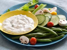 Cucumber-Dill Yogurt Dip Recipe : Aida Mollenkamp : Food Network - Using yogurt instead of sour cream or cream cheese in dips ensures all of the creaminess, with just a fraction of the fat and calories.